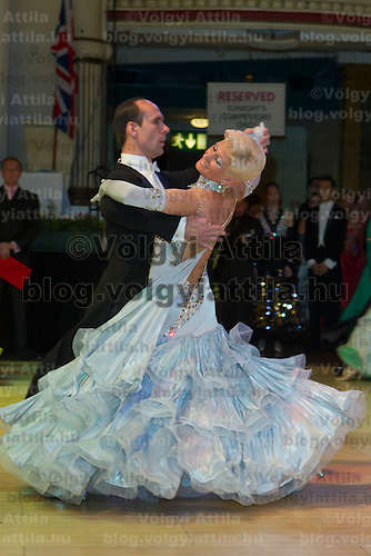 Mikhail Kotsar and Olga Melnik of Russia perform their dance during the Senior Ballroom competition of the Blacpool Dance Festival that is the most famous event among dance competitions held in Empress Ballroom Wintergardens, Blacpool, United Kingdom. Friday, 28. May 2010. ATTILA VOLGYI