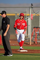 AZL Reds Yan Contreras (51) smiles after getting a hit during an Arizona League game against the AZL Athletics Green on July 21, 2019 at the Cincinnati Reds Spring Training Complex in Goodyear, Arizona. The AZL Reds defeated the AZL Athletics Green 8-6. (Zachary Lucy/Four Seam Images)