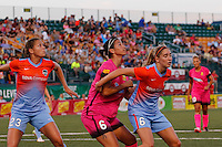 Rochester, NY - Saturday Aug. 27, 2016: Cami Privett, Abby Erceg, Morgan Brian during a regular season National Women's Soccer League (NWSL) match between the Western New York Flash and the Houston Dash at Rochester Rhinos Stadium.
