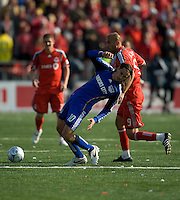 26 April 2009: Kansas City Wizards midfielder Santiago Hirsig #10 and Toronto FC forward Danny Dichio #9 in action at BMO Field in Toronto in a  game between Kansas City Wizards and Toronto FC..Toronto FC won 1-0.