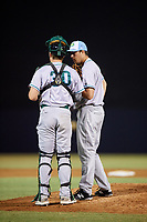 Daytona Tortugas relief pitcher Alex Webb (31) in a mound visit with catcher Tyler Stephenson (30) during a game against the Tampa Tarpons on April 18, 2018 at George M. Steinbrenner Field in Tampa, Florida.  Tampa defeated Daytona 12-0.  (Mike Janes/Four Seam Images)