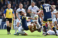 Chris Vui of Worcester Warriors offloads the ball after being tackled to ground. Aviva Premiership match, between Worcester Warriors and Bath Rugby on April 15, 2017 at Sixways Stadium in Worcester, England. Photo by: Patrick Khachfe / Onside Images