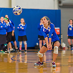 18 October 2015: Yeshiva University Maccabee Defensive Specialist and Outside Hitter Carol Jacobson, a Senior from Seattle, WA, bumps during game action against the Sage College Gators, at the Peter Sharp Center, College of Mount Saint Vincent, in Riverdale, NY. The Gators defeated the Maccabees 3-0 in the NCAA Division III Women's Volleyball Skyline matchup. Mandatory Credit: Ed Wolfstein Photo *** RAW (NEF) Image File Available ***