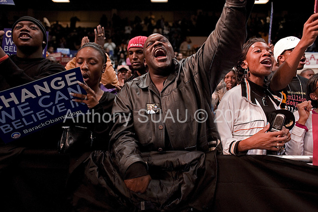 Orangeburg, South Carolina.January 22, 2008 ..Supporters scream for Presidential hopeful Sen. Barack Obama (D-IL) who holds a campaign rally at South Carolina State University. Obama is campaigning through the state ahead of its Democratic primary on January 26. He is joined by singer Usher Raymond, actress Kerry Washington, and actor Chris Tucker..