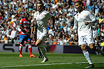 Real Madrid´s Gareth Bale and Cristiano Ronaldo  celebrates a goal during 2014-15 La Liga match between Real Madrid and Granada at Santiago Bernabeu stadium in Madrid, Spain. April 05, 2015. (ALTERPHOTOS/Luis Fernandez)