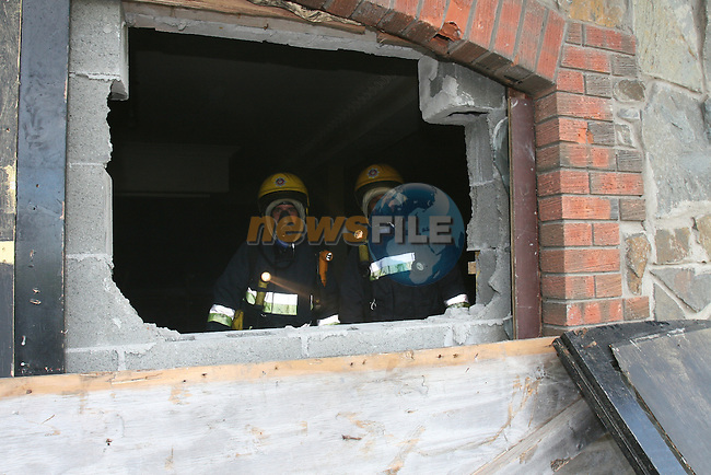 Drogheda fire service received a call to smoke showing from the Bridgeford leisure centre on the Newfoundwell road on Saturday Last. On arrival there was a small fire inside where windows that had been blocked up were broken through and fire started....Photo: Fran Caffrey/ Newsfile.
