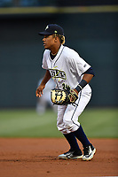 First baseman Milton Ramos (24) of the Columbia Fireflies plays defense in a game against the Lakewood BlueClaws on Friday, May 5, 2017, at Spirit Communications Park in Columbia, South Carolina. Lakewood won, 12-2. (Tom Priddy/Four Seam Images)
