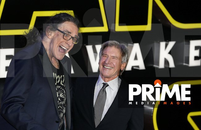 Peter Mayhew (Chewbacca) & Harrison Ford (Hans Solo) enjoy a joke during the STAR WARS: 'The Force Awakens' EUROPEAN PREMIERE at Odeon, Empire & Vue Cinemas, Leicester Square, England on 16 December 2015. Photo by David Horn / PRiME Media Images