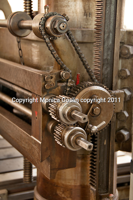 An detail of the machines in an old workshop at Skansen in Stockholm, the outdoor museum of traditional Swedish buildings and farmsteads