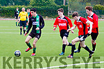 Chase him<br /> --------------<br /> Parks Alex Rowan, Dylan Byrnes&amp;Mark McDonnell all close in on Fenit Samphires Chris Murphy when the sides met in the Jimmy Falvey Memorial final at Mounthawk Pk, Tralee last Saturday evening.