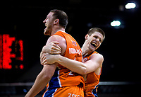 Tom Vodanovich and Conor Morgan (Sharks) celebrate winning the national basketball league final  between Wellington Saints and Southland Sharks at TSB Bank Arena in Wellington, New Zealand on Sunday, 5 August 2018. Photo: Dave Lintott / lintottphoto.co.nz