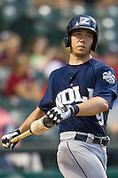 New Orleans Zephyrs catcher Kyle Skipworth (9) on deck during the Pacific Coast League baseball game against the Round Rock Express on June 30, 2013 at the Dell Diamond in Round Rock, Texas. Round Rock defeated New Orleans 5-1. (Andrew Woolley/Four Seam Images)