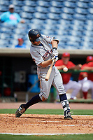 Lakeland Flying Tigers third baseman Zac Shepherd (4) swings at a pitch during the first game of a doubleheader against the Clearwater Threshers on June 14, 2017 at Spectrum Field in Clearwater, Florida.  Lakeland defeated Clearwater 5-1.  (Mike Janes/Four Seam Images)