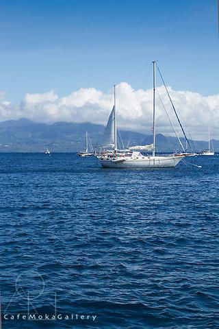 Yachts moored at Isles des Saintes looking to mainland Guadeloupe