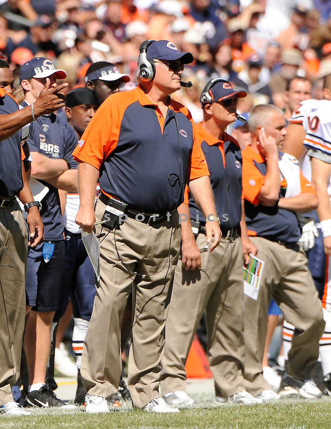 MIKE MARTZ, of  the Chicago Bears, in action during the Bears' game against the Detroit Lions at Soldier Field in Chicago, Illinois  on September 12, 2010.   Bears won the game 19-14...