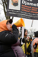 January 11, 2012  (Washington, DC)  Johanna Bon, from New York, joined hundreds of others who came to Washington to demand the closing of the Guantanamo prison on the tenth anniversary of its opening.  Protestors began in front of the White House and marched to the U.S. Supreme Court where they held a rally.   (Photo by Don Baxter/Media Images International)