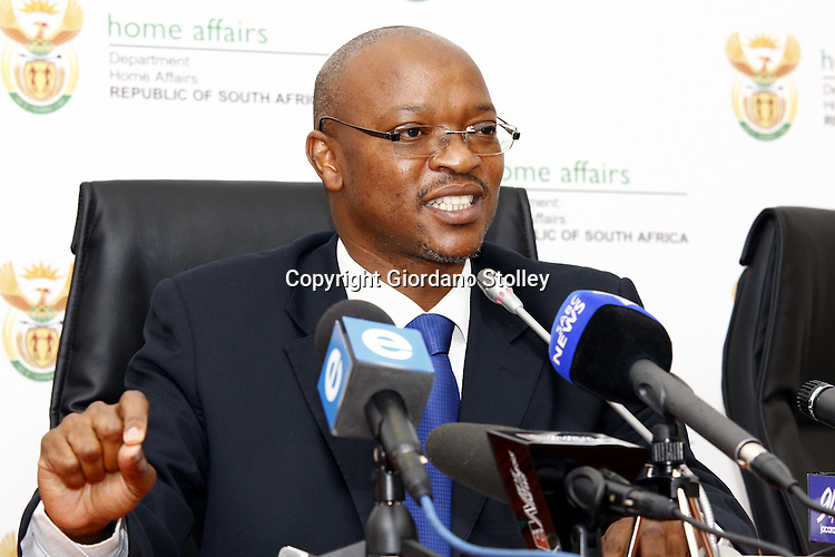 PRETORIA - 21 October 2010 - The Director General of South Africa's Home Affairs Department director general Mkuseli Apleni announces the setting up of a hotline to speed up the processing if identity books for students writing their school leaving National Senior Certificate examinations. -- APP/Allied Picture Press