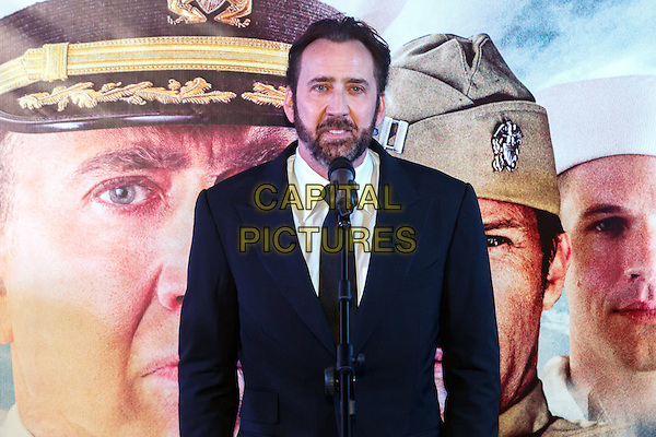 MOSCOW, RUSSIA - SEPTEMBER 20, 2016: American actor Nicolas Cage at the Russian premiere of a new action film 'USS Indianapolis: Men of Courage' at the 5 Zvyozd Na Paveletskoi Cinema Hall, Moscow, Russia.<br /> CAP/PER<br /> &copy;PER/Capital Pictures