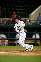Lakeland Flying Tigers catcher Austin Athmann (19) at bat during a Florida State League game against the Tampa Tarpons on April 5, 2019 at Publix Field at Joker Marchant Stadium in Lakeland, Florida.  Lakeland defeated Tampa 5-3.  (Mike Janes/Four Seam Images)