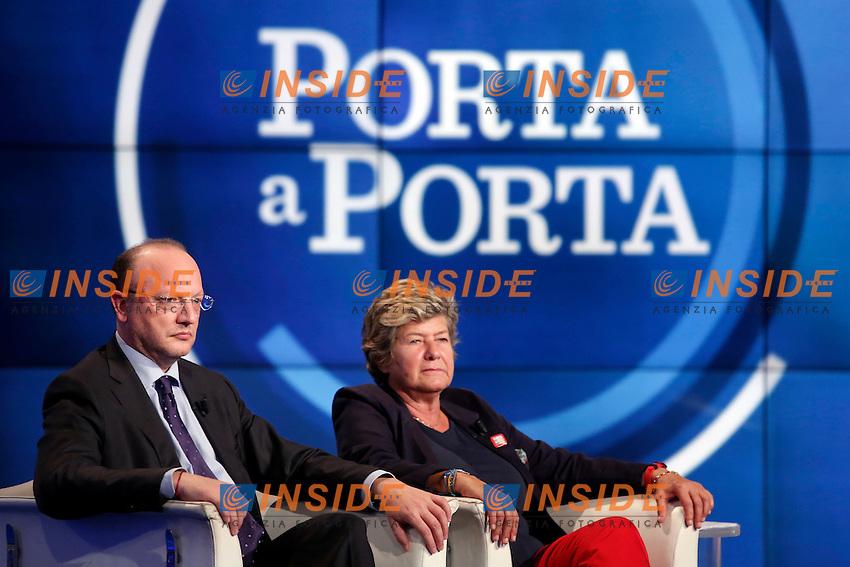 Vincenzo Boccia e Susanna Camusso <br /> Roma 28-09-2016. Rai. Trasmissione tv Porta a Porta.<br /> Rome 28th September 2016. Rai tv. Talk show Porta a PortaPhoto Samantha Zucchi Insidefoto