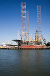 North Sea oil rig platform being constructed in the Keppel Verome shipyard, Botlek, Port of Rotterdam, Netherlands