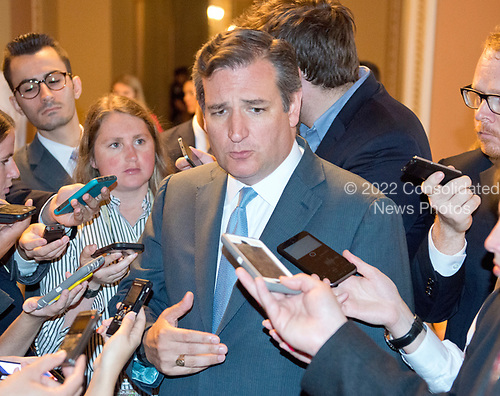 United States Senator Ted Cruz (Republican of Texas) speaks to reporters in the US Capitol after the release of the newest GOP version of the bill to repeal and replace Obamacare in the US Capitol in Washington, DC on Thursday, July 13, 2017.  Senator Cruz' amendment to allow insurance companies to sell low cost policies that are not compliant with the Obamacare mandates is part of the latest version of the bill.<br /> Credit: Ron Sachs / CNP