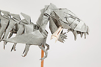 Origami Tyrannosaurus rex designed by Issei Yoshino and folded by Michael Verry.