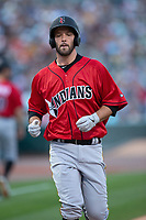 Jacob Stallings (32) of the Indianapolis Indians crosses home plate after hitting a home run against the Charlotte Knights at BB&T BallPark on April 27, 2019 in Charlotte, North Carolina. The Indians defeated the Knights 8-4. (Brian Westerholt/Four Seam Images)