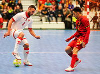 20200201 Herentals , BELGIUM :  Montenegro's Nikola Vidakovic (8) with the ball, Belgium's Souliemane Ouadi (14) defends during a futsal indoor soccer game between the Belgian Futsal Devils of Belgium and Montenegro on the third and last matchday in group B of the UEFA Futsal Euro 2022 Qualifying or preliminary round , Saturday 1st February 2020 at the Sport Vlaanderen sports hall in Herentals , Belgium . PHOTO SPORTPIX.BE | Sevil Oktem