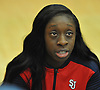 Aaliyah Lewis #4 of St. John's University women's basketball fields questions during Media Day at Lou Carnesecca Arena in Jamaica, NY on Thursday, Oct. 27, 2016.