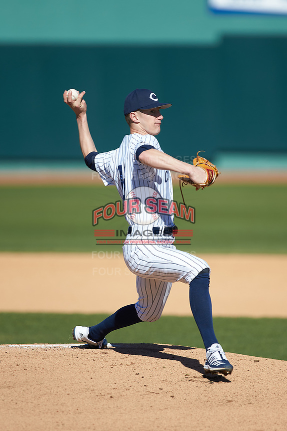 Catawba Indians starting pitcher Bryan Ketchie (16) in action against the West Virginia State Yellow Jackets at Newman Park on February 9, 2020 in Salisbury, North Carolina. The Indians defeated the Yellow Jackets 15-9 in game one of a doubleheader.  (Brian Westerholt/Four Seam Images)
