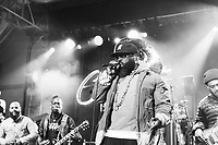 SAN FRANCISCO, CA - June 21: (L - R) Ian Hendrickson-Smith, Kirk Douglas, Black Thought, and Mark Kelley of The Roots perform at Clusterfest on June 21, 2019 in San Francisco, CA. photo: Ryan Myers/imageSPACE/MediaPunch