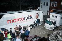 Florida senator and Republican presidential candidate Marco Rubio greets people near his campaign bus after speaking at a town hall campaign event at Exeter Town Hall in Exeter, New Hampshire, on Tues. Feb. 2, 2016. The day before, Rubio placed third in the Iowa caucus.