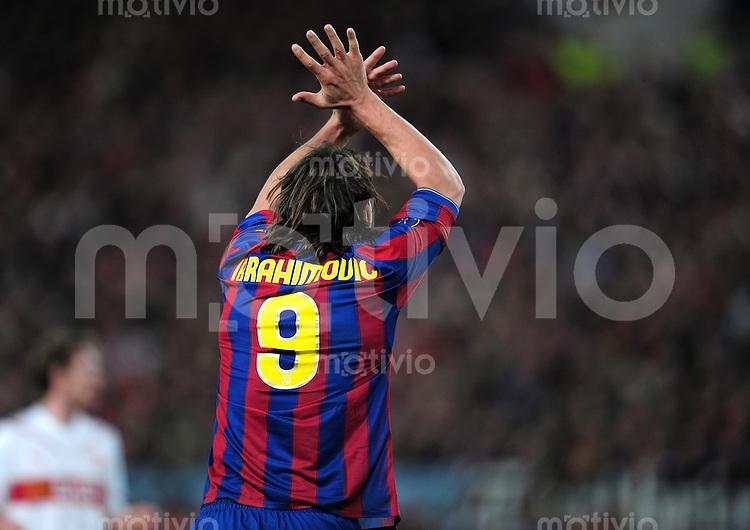 FUSSBALL  International  Champions   League  Hinspiel   SAISON 2009/2010    VfB Stuttgart -  FC Barcelona      23.02.2010 Zlatan Ibrahimovic  (Barca)
