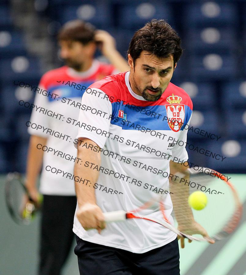Tenis, Davis Cup 2010.Serbia Vs. France, final.Serbia team, practice session.Beograd, 30.11.2010..foto: Srdjan Stevanovic/Starsportphoto ©
