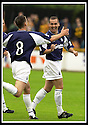 24/8/02         Copyright Pic : James Stewart                     .File Name : stewart-alloa v falkirk 25.CRAIG MCPHERSON CELEBRATES SCORING FALKIRK'S FIRST GOAL WITH LEE MILLER (8)....James Stewart Photo Agency, 19 Carronlea Drive, Falkirk. FK2 8DN      Vat Reg No. 607 6932 25.Office : +44 (0)1324 570906     .Mobile : + 44 (0)7721 416997.Fax     :  +44 (0)1324 570906.E-mail : jim@jspa.co.uk.If you require further information then contact Jim Stewart on any of the numbers above.........