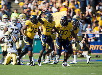 September 4, 2010:  California teammates Derrick Hill, Cameron Jordan celebrated with Josh Hill's fumble recover during a game against UCLA at Memorial Stadium in Berkeley, California.    California defeated UCLA 35-7