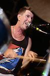 Kaohsiung, Taiwan -- Drummer Tim Hardwick of British Rock 'n' Roll band GOOBER GUN during a performance at the Brickyard Beer Garden.
