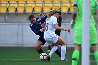 Japan&rsquo;s Rumi Utsugi and Ferns&rsquo; Rosie White in action during the  International Football - Football Ferns v Japan  at Westpac Stadium, Wellington, New Zealand on Sunday 10 June 2018.<br />