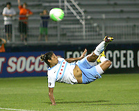 Cristiane #11 of the Chicago Red Stars takes a spectacular shot during a WPS match against the Washington Freedom at the Maryland Soccerplex, in Boyds Maryland on June 12 2010.The game ended in a 2-2 tie.