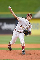 Starting pitcher Mike McGee #25 of the Florida State Seminoles in action versus the Virginia Cavaliers at Durham Bulls Athletic Park May 24, 2009 in Durham, North Carolina. The Virginia Cavaliers defeated the Florida State Seminoles 6-3 to win the 2009 ACC Baseball Championship.  (Photo by Brian Westerholt / Four Seam Images)