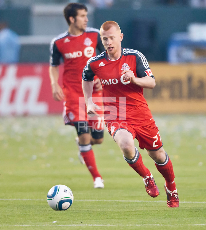 CARSON, CA – June 11, 2011: Toronto FC defender Richard Eckersley (27) during the match between LA Galaxy and Toronto FC at the Home Depot Center in Carson, California. Final score LA Galaxy 2, Toronto FC 2.