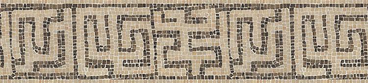 "9 1/8"" Kuba border, a hand-chopped stone mosaic, shown in tumbled Rosa Portagallo and Emperador Dark."