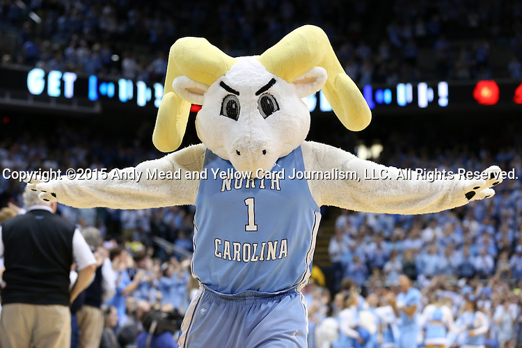 01 December 2015: UNC's mascot, Rameses. The University of North Carolina Tar Heels hosted the University of Maryland Terrapins at the Dean E. Smith Center in Chapel Hill, North Carolina in a 2015-16 NCAA Division I Men's Basketball game. UNC won the game 89-81.
