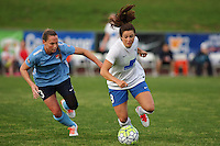 Piscataway, NJ - Friday May 13, 2016: Boston Breakers forward Stephanie McCaffrey (9) and Sky Blue FC defender Christie Rampone (3) during a regular season National Women's Soccer League (NWSL) match at Yurcak Field.