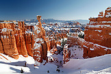 USA, Utah, Bryce Canyon City, Bryce Canyon National Park, snow covered Hoodoos along the Navajo Loop Trail, A formation called Thors Hammer
