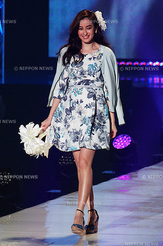 "Audrey Ayaka (Tokyo Runway 2015 Spring / Summer) on February 14, 2015, Yokohama, Japan : Model Audrey Ayaka wearing fashion brand ""MISCH MASCH"" walks down the runway during the Tokyo Runway 2015 Spring / Summer fashion event at the Yokohama Arena. Tokyo Runway brings together top models and celebrities and over 30 fashion brands. Over 18,000 fans visit the fashion event. (Photo by Rodrigo Reyes Marin/AFLO)"
