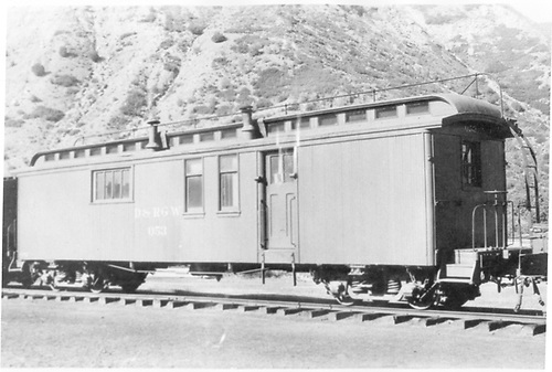 3/4 view of cook/sleeper car #053 at Durango.<br /> D&amp;RGW  Durango, CO