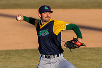 Beloit Snappers pitcher Bryce Conley (33) delivers a pitch during a Midwest League game against the Wisconsin Timber Rattlers on April 7, 2018 at Fox Cities Stadium in Appleton, Wisconsin. Beloit defeated Wisconsin 10-1. (Brad Krause/Four Seam Images)