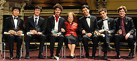 PICTURE BY VAUGHN RIDLEY/SWPIX.COM - Leeds International Piano Competition 2012 - Leeds Town Hall, Leeds, England - 15/09/12 - The winner Federico Colli of Italy pictured with Dame Fanny Waterman and his fellow finalists